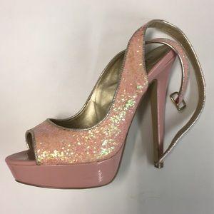 Glittery peep toe high heels